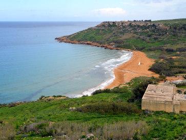 Пляж в Рамла Бэй. Гозо, Мальта