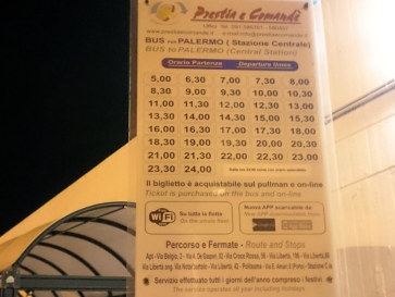 Расписание автобусов аэропорт-вокзал Палермо. 2015