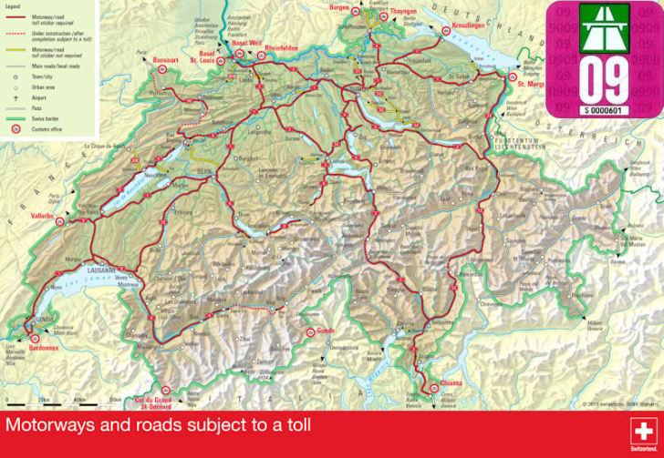 Платные дороги в Швейцарии. Виньетка