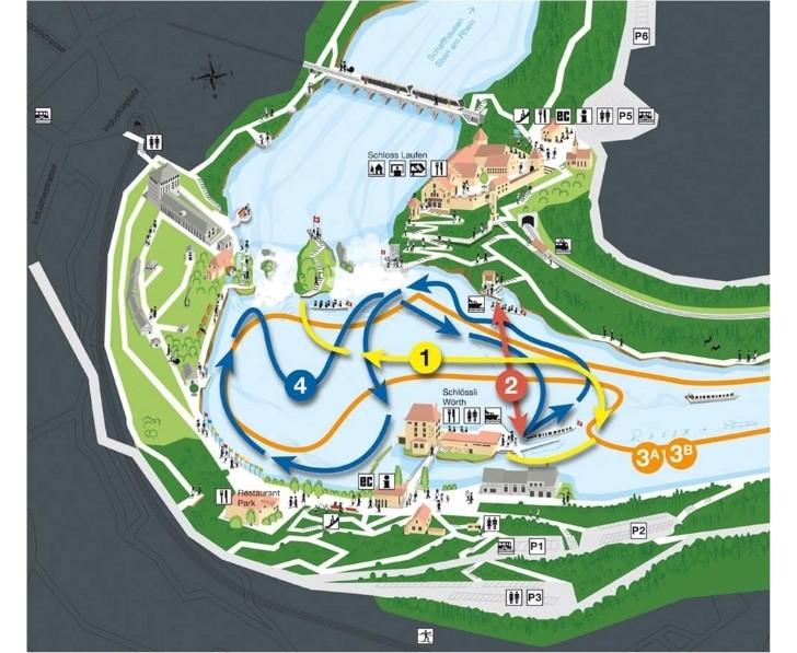 Схема движения туристических лодок по Рейнскому водопаду