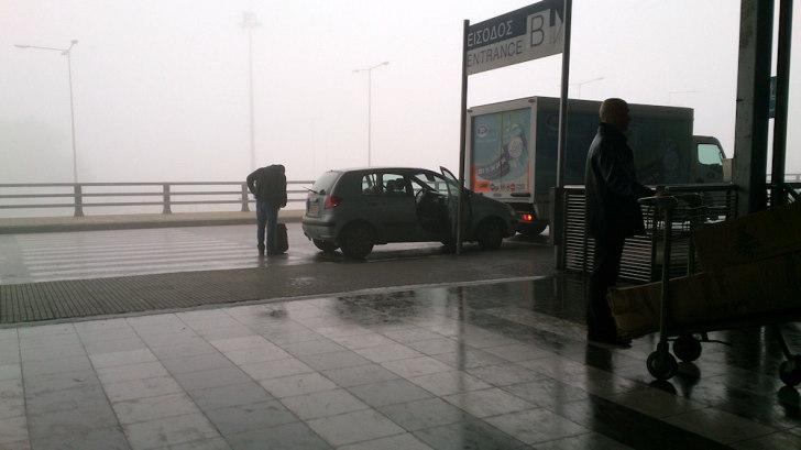 Аэропорт Салоники. Туман
