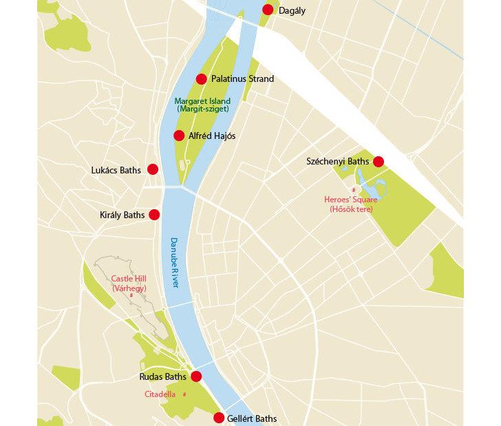Карта бань Будапешта