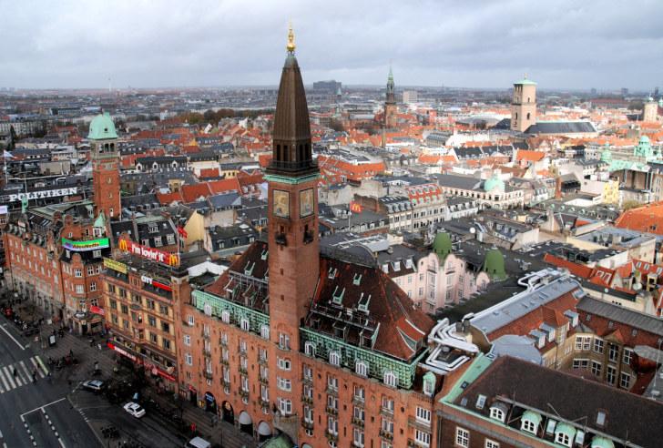 Вид на Копенгаген со смотровой площадки Ратуши, 2010