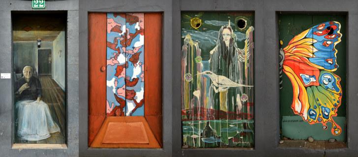 Рисунки на дверях. Машику, Мадейра, 2016