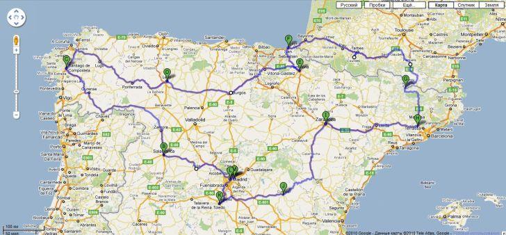 Первоначальная схема маршрута по Испании - 2011