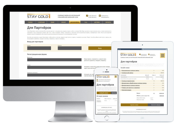 Скриншот системы b2b сайта staygold.ru